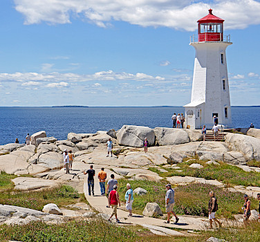 Peggy's Point Lighthouse in Peggy's Cove, St Margaret Bay in Halifax, Nova Scotia, Canada. Photo via Flickr:Dennis Jarvis