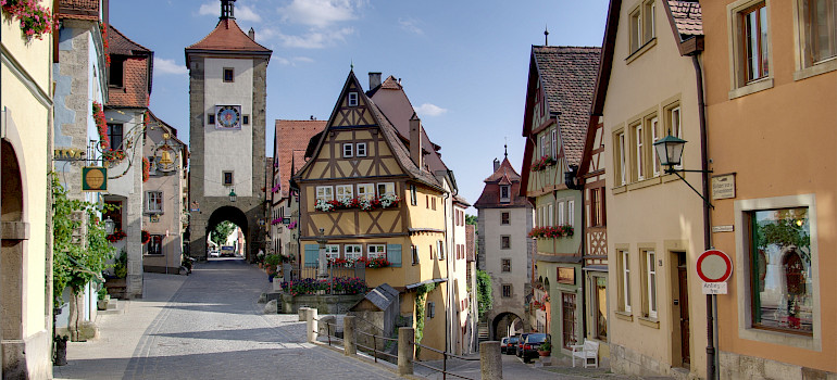 Rothenburg ob der Tauber on the Tauber River, Plönlein, along the Romantic Road, Bavaria, Germany. Wikimedia Commons:Berthold Werner