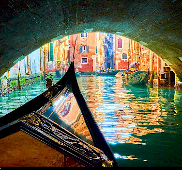 From bike to gondola in Venice, Veneto, Italy. Photo via Flickr:Moyan Brenn
