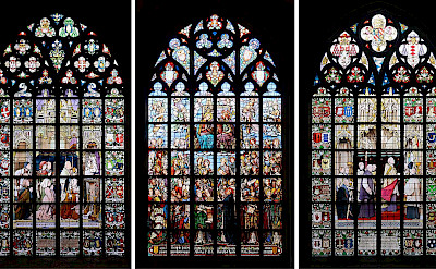 The famous 3 stained-glass windows at the Cathedral of Our Lady in Antwerp, the Netherlands. CC:Alvesgaspar