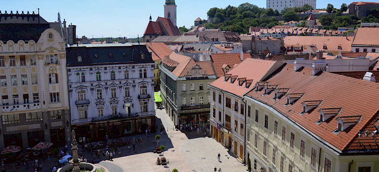 Bratislava with Castle in Slovakia. Photo via Flickr:Aapo Haapanen