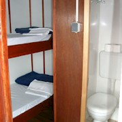 Each cabin is furnished with a private shower and toilet.