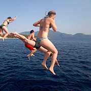 Swimming off the Panagiota | Bike & Boat Tours