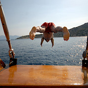 Swimming off deck - Panagiota | Bike & Boat Tours