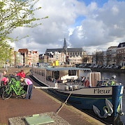 Fleur docked and waiting | Bike & Boat Tours