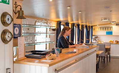 Fully stocked bar on the Iris | Bike & Boat Tours