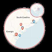 Southern Delight - Charleston to Savannah Map
