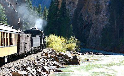 Train along the Animas River from Durango to Silverton, Colorado. Flickr:Mike McBey