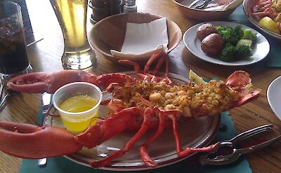 Baked stuffed lobster in Maine, of course! Flickr:Sandra Forbes