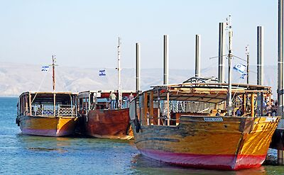 Tourist boats for sailing on the Sea of Galilee, Israel. Flickr:Dennis Jarvis
