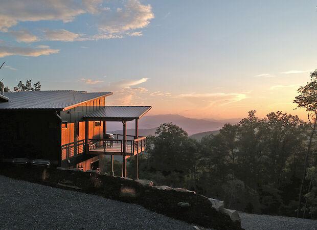 Sunset Behind Cabin