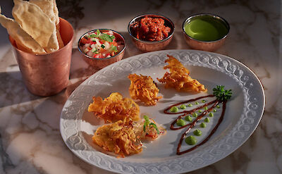 Canouan Fine Dining Asianne Food Crispy Onion Bhaji