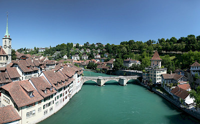 Aare River in the Old City section of Bern, Switzerland. CC:Daniel Schwen