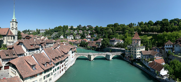 Aare River in the Old City part of Bern, Switzerland. Photo via Wikimedia Commons:Daniel Schwen