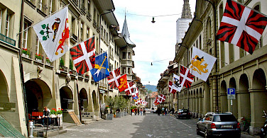 Flags in a famous part of Bern, Switzerland. Flickr:Patrick Nouhailler