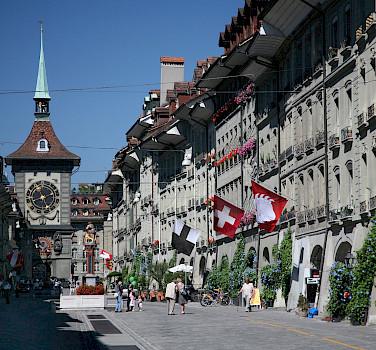 Bike rest on kramgasse in Bern, Switzerland. Photo via Wikimedia Commons:Daniel Schwen