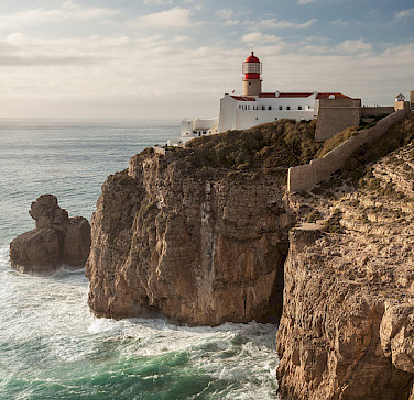 Lighthouse in Cape St. Vincent, Portugal - the southwestern-most point of Continental Europe. Photo via Flickr:Tobias Abel
