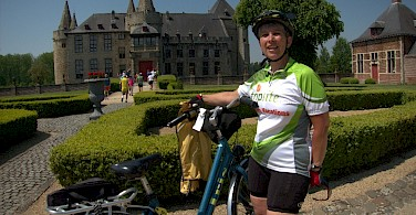 Linda Guthrie cycling the Amsterdam to Bruges Bike Tour.
