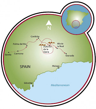 Andalusia - Seville to Granada Map