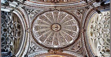 An elaborate ceiling in Catedral de la Asunción de Nuestra Señora, Cordoba, Spain. Flickr:Bert Kaufmann