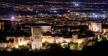 Alhambra palace at night in Granada, Spain. Flickr:Pepe Serrano