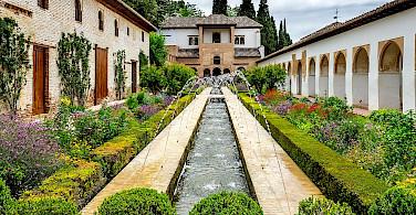 Generalife Fountains in Granda, Spain. Wikimedia Commons:Ajaysuresh