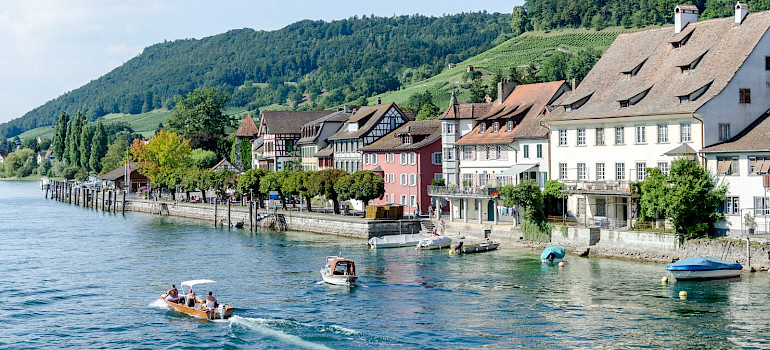 Boating on Stein am Rhein on Lake Constance, Switzerland. Photo via Flickr:Luca Casartelli