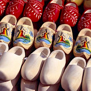 """Wooden shoes or """"klompen"""" before and after painting. Photo courtesy of Netherlands Board of Tourism"""