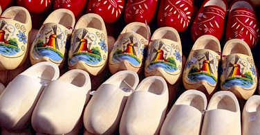 "Wooden shoes or ""klompen"" before and after painting. Photo courtesy of Netherlands Board of Tourism"