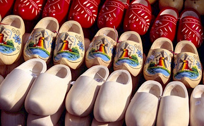 "Wooden shoes or ""klompen"" before and after painting. Photo via Netherlands Board of Tourism"