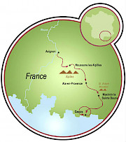 Avignon to Cassis Map