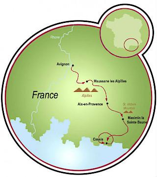 Avignon a Cassis Map