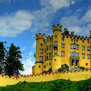 Hohenschwangau Castle sits among the Bavarian Lakes. Photo via Flickr:joiseyshowaa