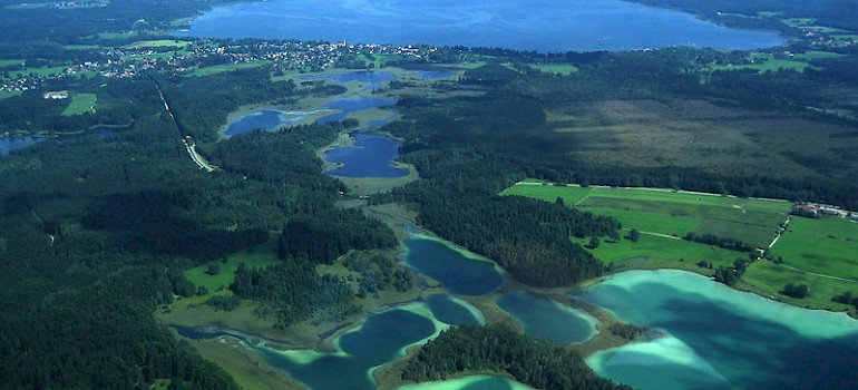 Osterseen or Oster Lakes, Bavaria, Germany. Photo via Wikimedia Commons:Michael Knall