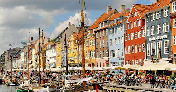 Boats in harbor at Nyhavn in Copenhagen, Denmark. Flickr:Dimitris Karagiorgos