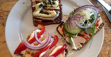 """Smørrebrød"" (open faced sandwiches) are very common in Denmark! Flickr:andreas hagerman"
