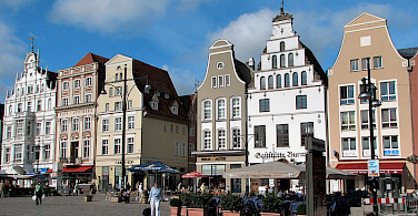 Shopping at Rostock Marktplatz, Rostock, Germany. Photo by Darkone via Creative Commons