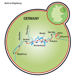 Magdeburg to Berlin Map