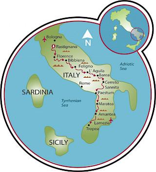 Bolonha a Tropea Map