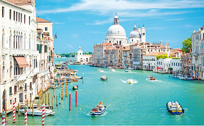 Famous canals of Venice in Veneto, Italy.