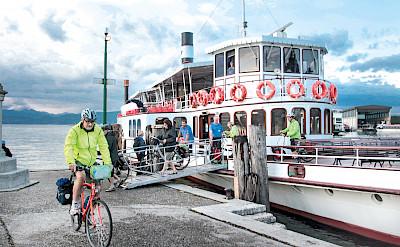 Ferry ride on the Bolzano to Venice Bike Tour.