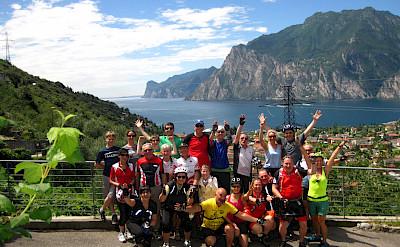 Group shot by Lake Garda in Italy.