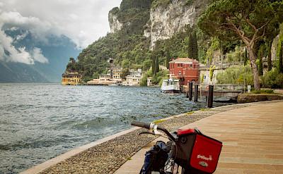 Biking along Lake Garda in Italy.