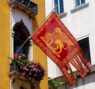 Flag of Venice, region Veneto, Italy. Photo via Flickr:svetico