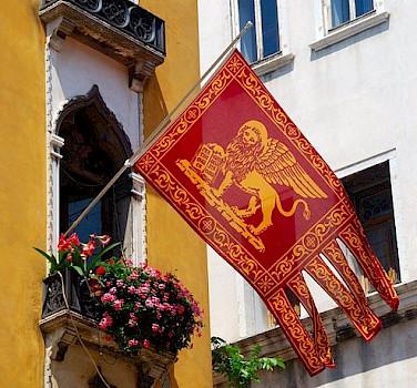 Flag of Venice, region Veneto, Italy. Photo via Flickr:svetico