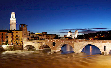 Ponte Pietra in beautiful Verona, Italy. Photo via Wikimedia Commons:Fabio Becchelli