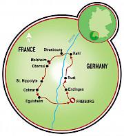 Breisgau e Rota do Vinho da Alsácia Mapa