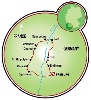 Breisgau e Rota do Vinho da Alsácia Map