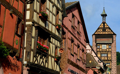 Colorful streets in Riquewihr in Alsace, France. Flickr:Pug Girl