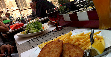 Schnitzel and fries on Muensterplatz in Freiburg-im-Breisgau, Germany. Photo via Flickr:Jeremy Keith